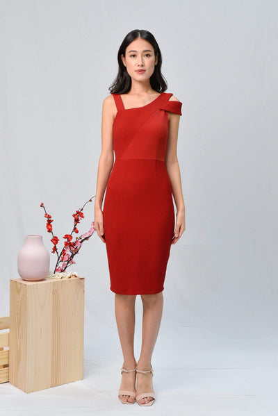 AWE Dresses HADID RED ASYMMETRICAL PENCIL DRESS