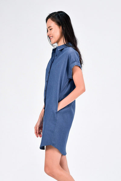 AWE Dresses HADLEY DENIM SHIRT DRESS IN MID WASH