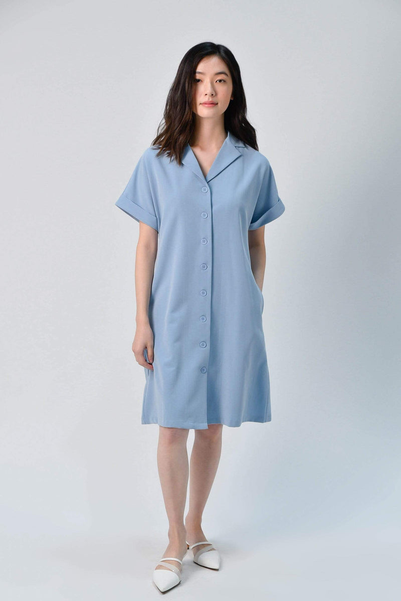 HAEWON OBI-SASH SHIRTDRESS IN BLUE