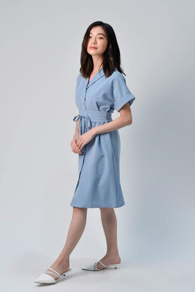 AWE Dresses HAEWON OBI-SASH SHIRTDRESS IN BLUE
