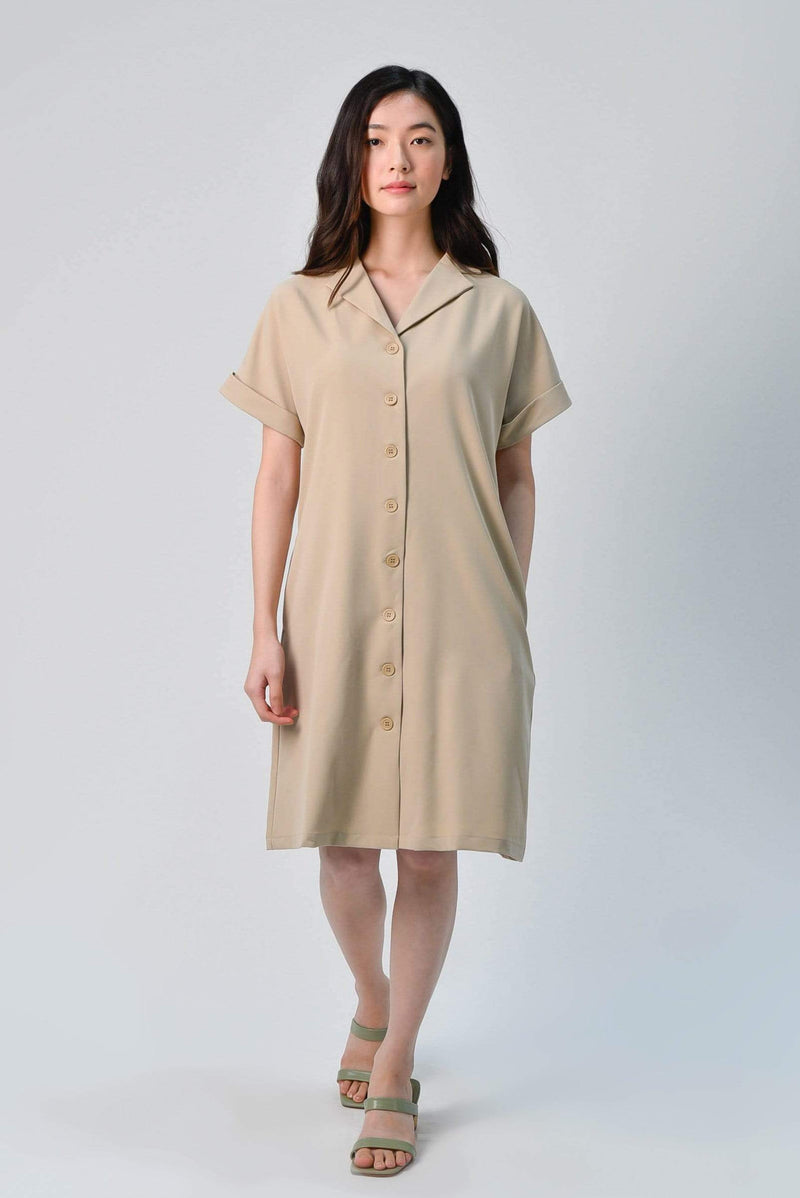 AWE Dresses HAEWON OBI-SASH SHIRTDRESS IN KHAKI