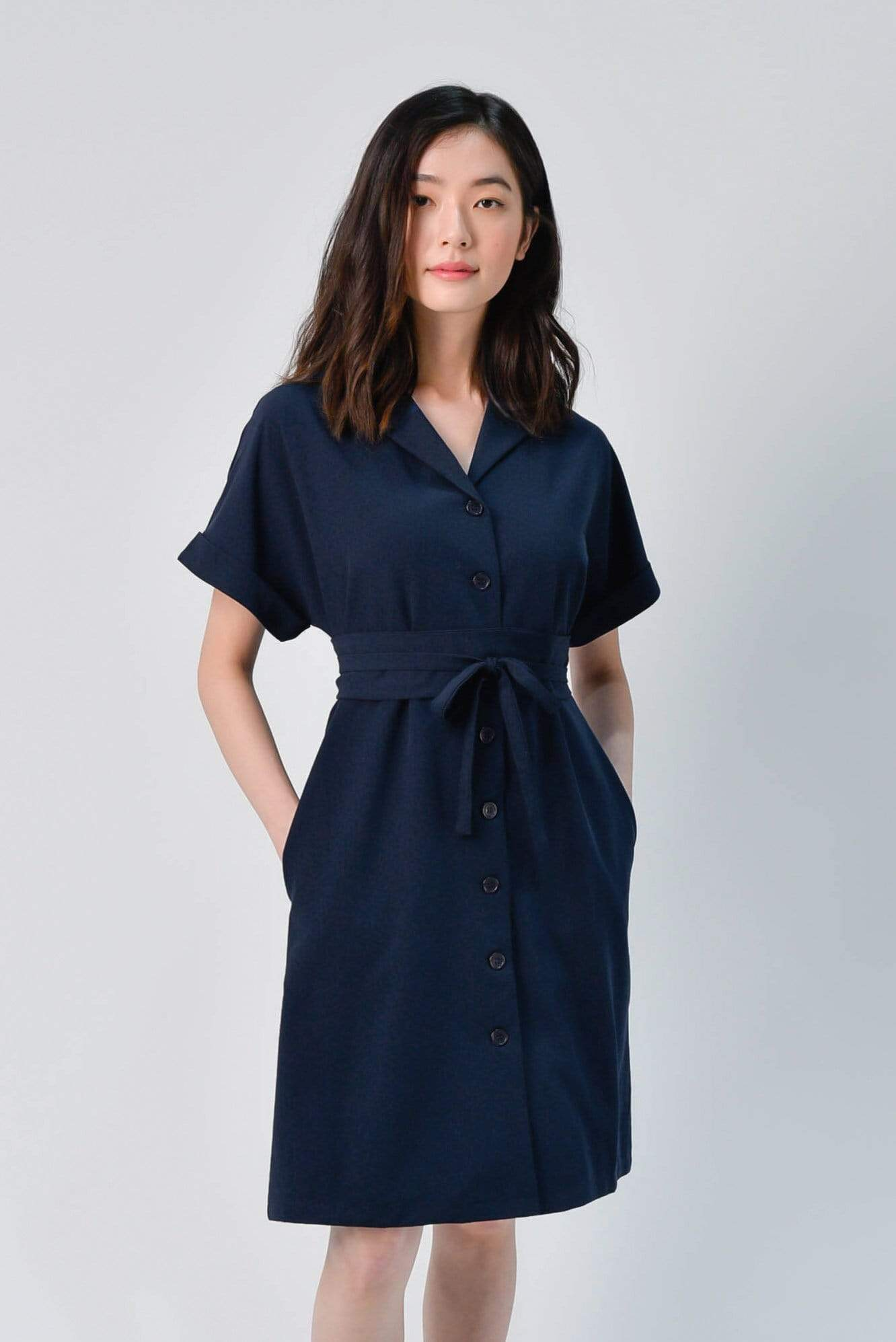 AWE Dresses HAEWON OBI-SASH SHIRTDRESS IN NAVY