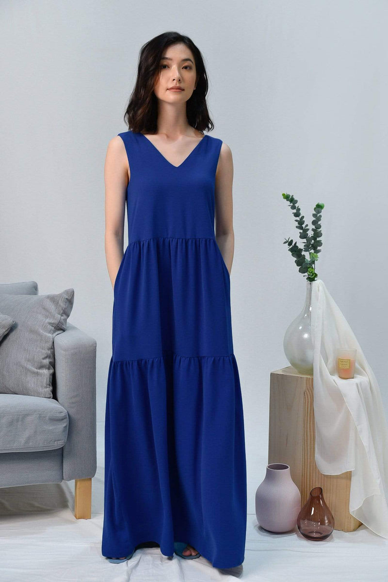 HAILEY  BLUE TIERED MAXI