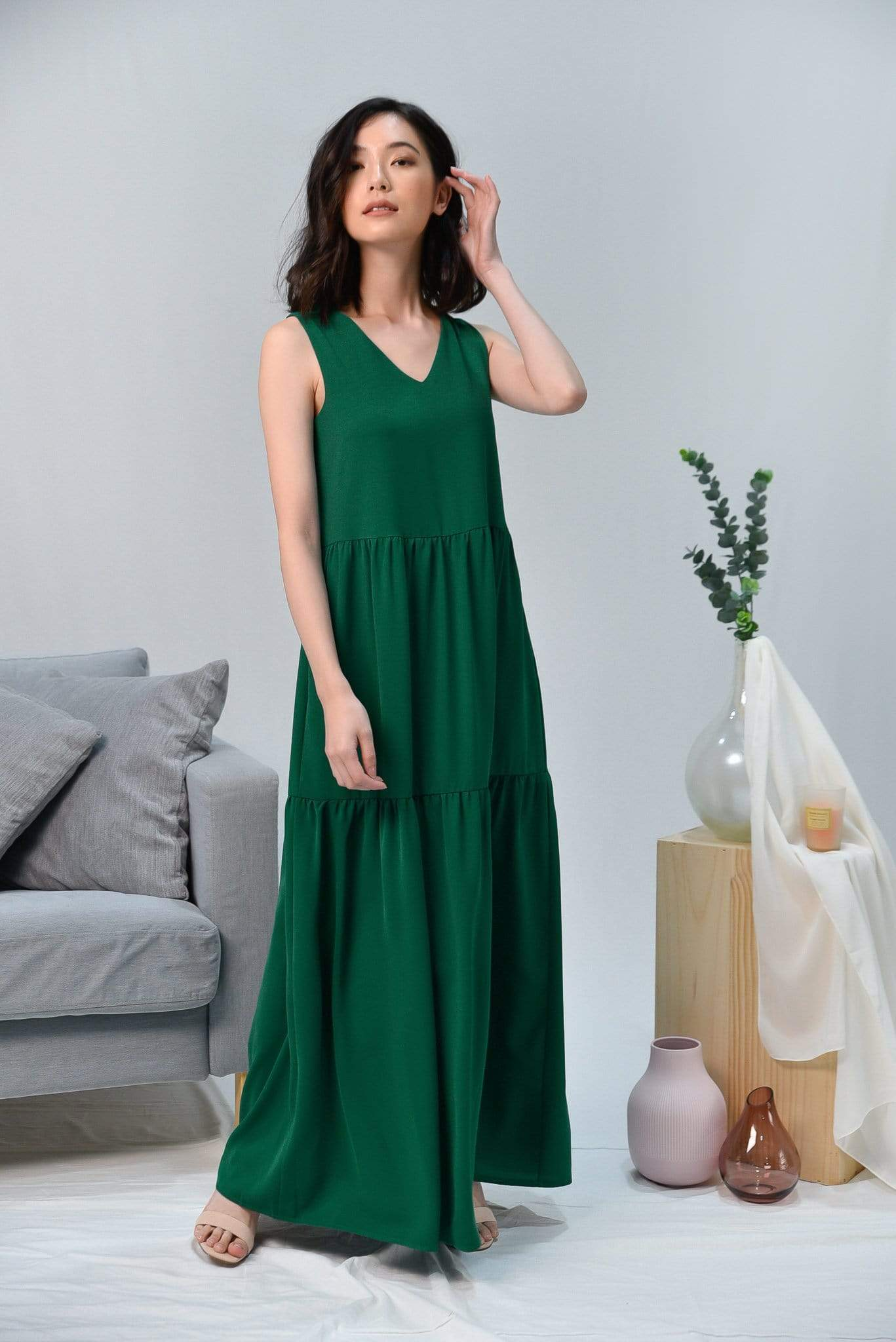 HAILEY GREEN TIERED MAXI
