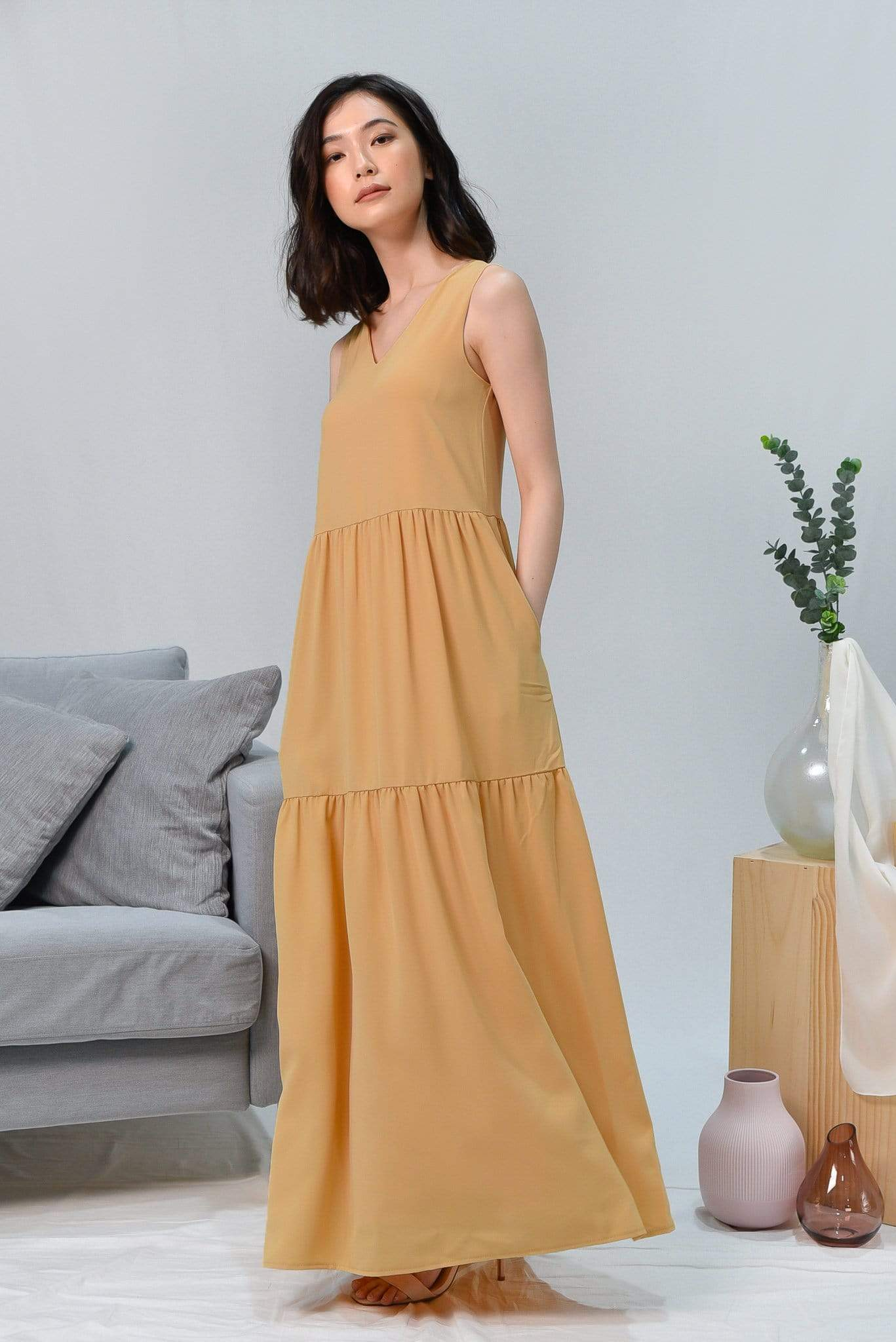 HAILEY YELLOW TIERED MAXI