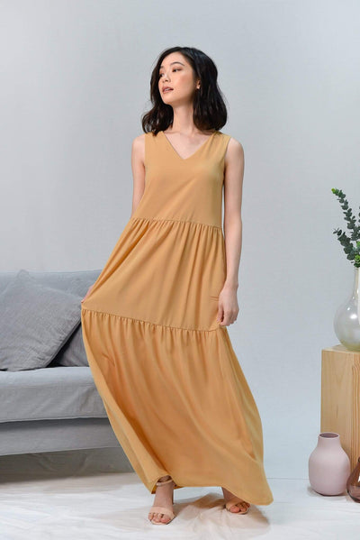 AWE Dresses HAILEY YELLOW TIERED MAXI