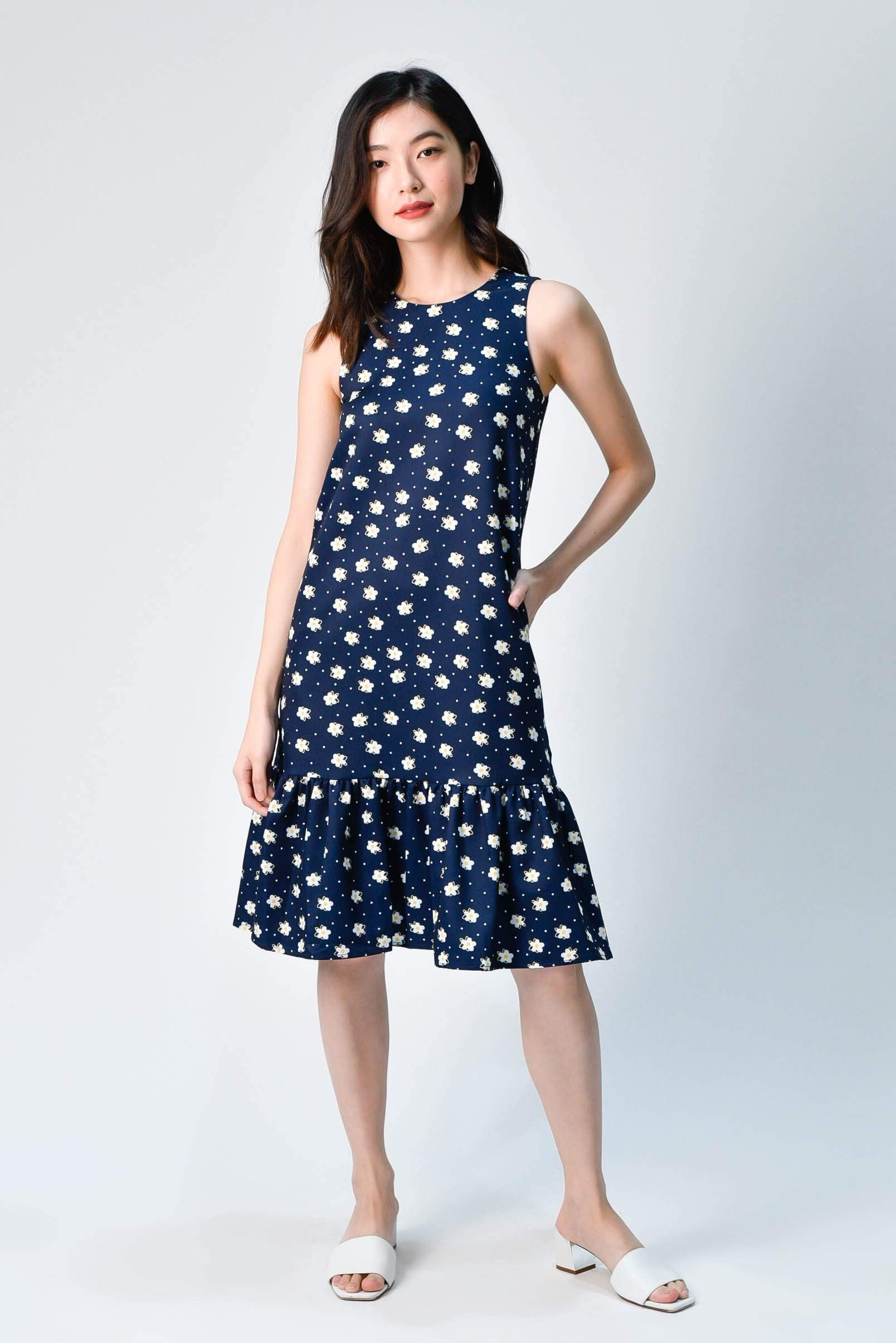 HANA NAVY FLORAL DROPWAIST DRESS