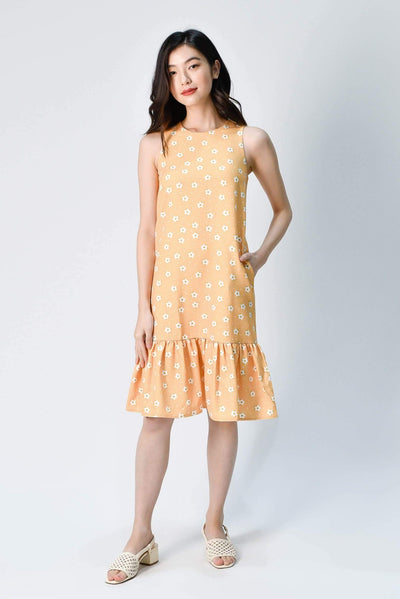AWE Dresses HANA YELLOW FLORAL DROPWAIST DRESS