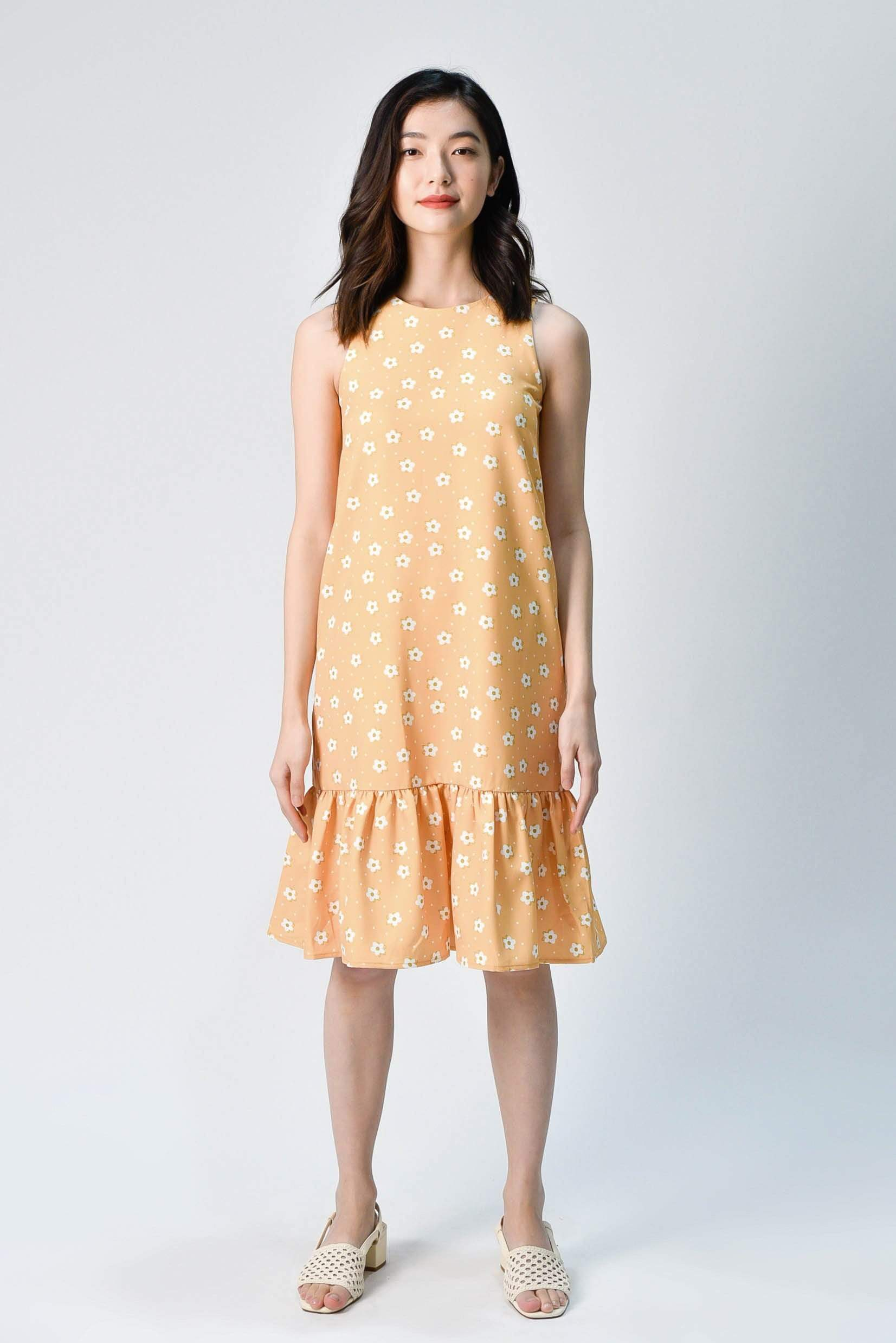 HANA YELLOW FLORAL DROPWAIST DRESS