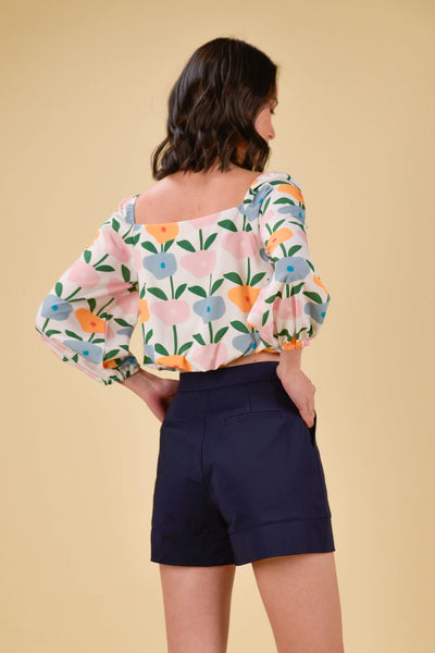 AWE Dresses HAPPY PUFF-SLEEVES TOP IN BLOSSOMS