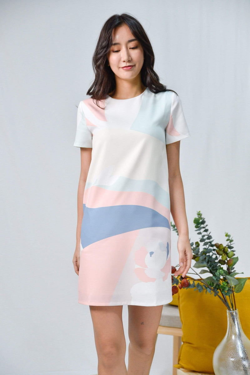 AWE Dresses HORIZON SLEEVED SHIFT DRESS IN DAWN