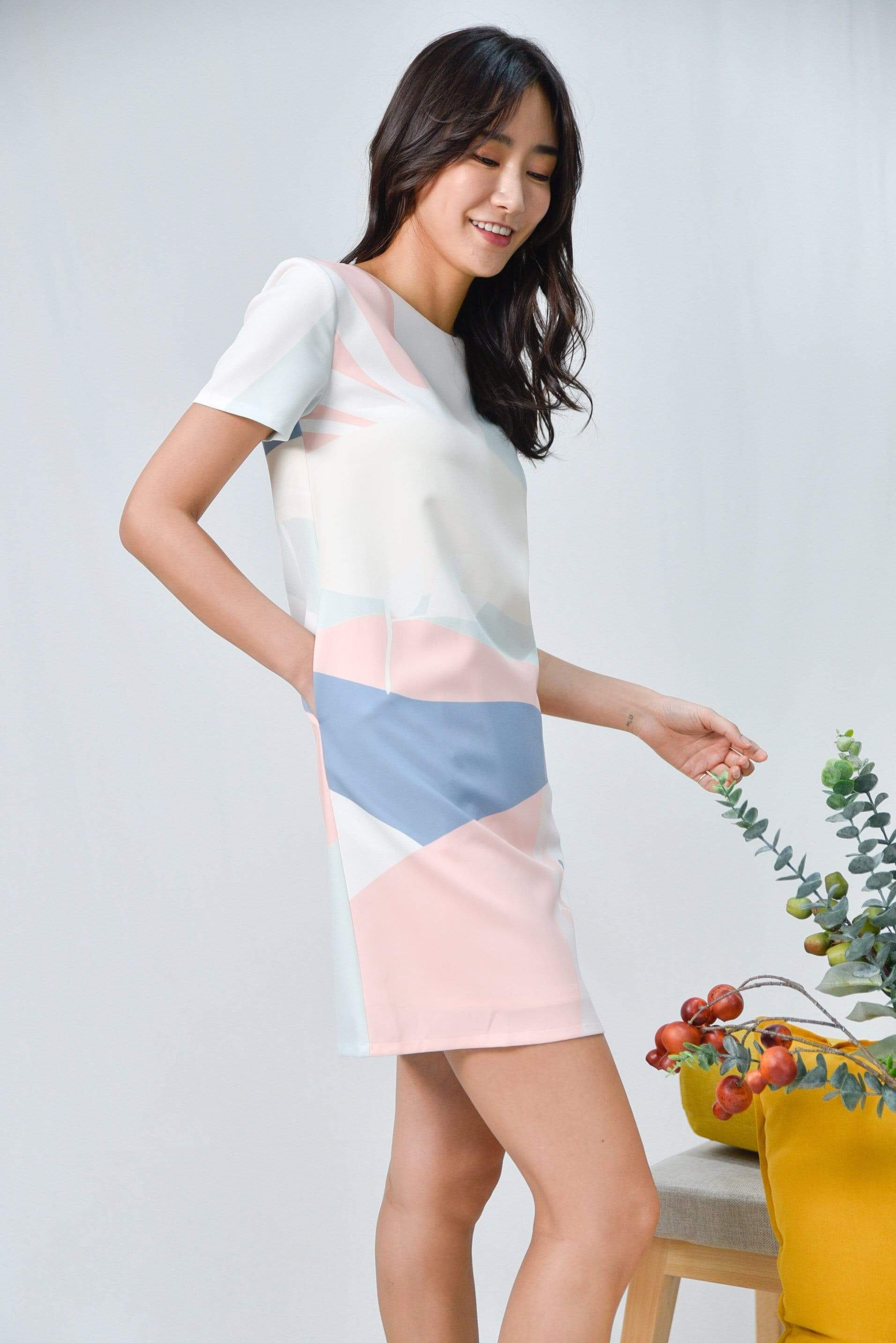 HORIZON SLEEVED SHIFT DRESS IN DAWN