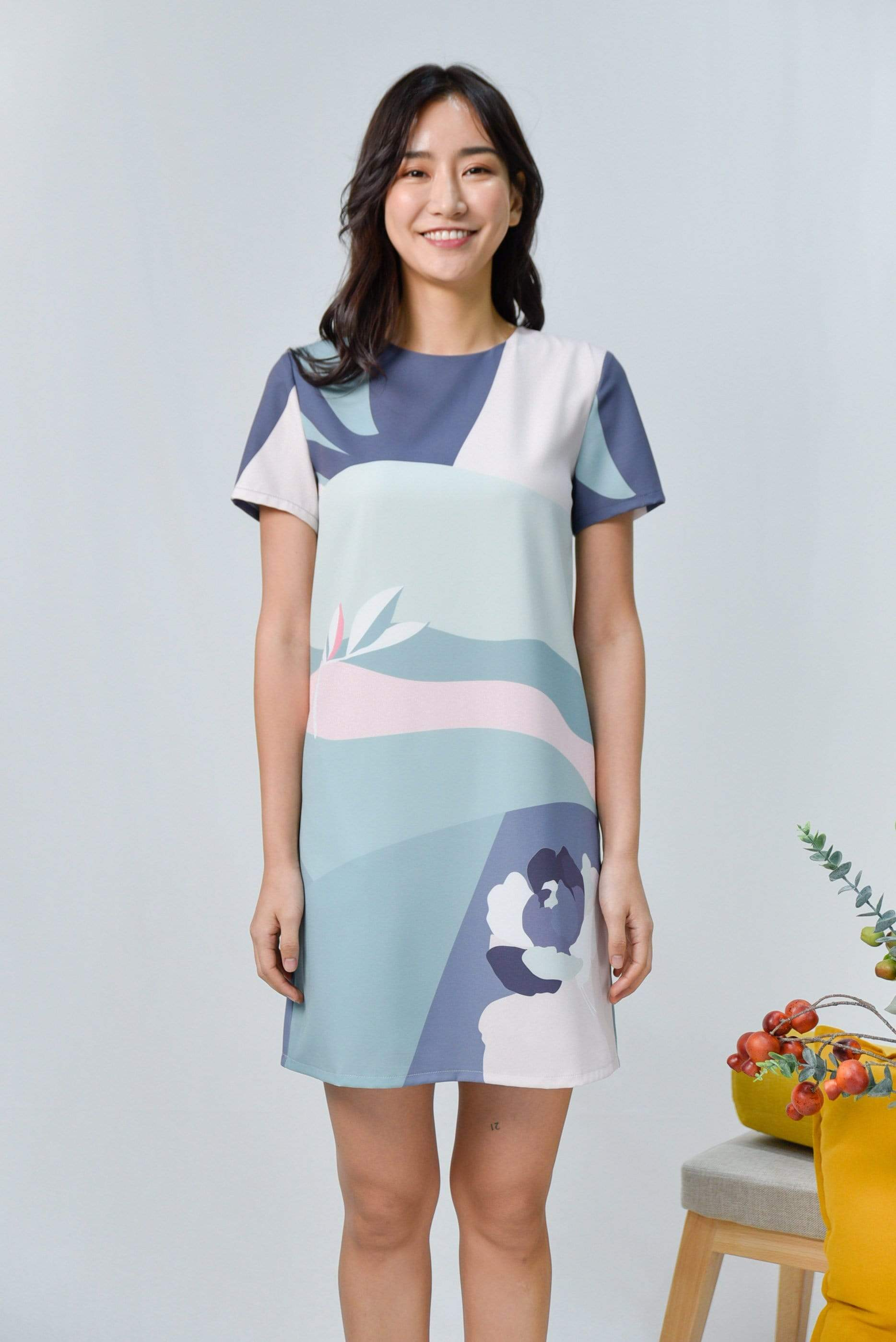 HORIZON SLEEVED SHIFT DRESS IN DUSK