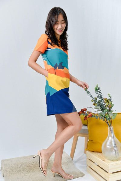 AWE Dresses HORIZON SLEEVED SHIFT DRESS IN TWILIGHT