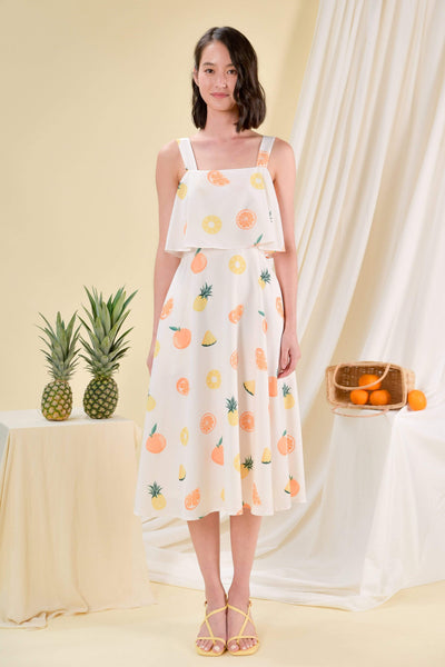AWE Dresses HUAT FRUITS OVERLAP MIDI DRESS