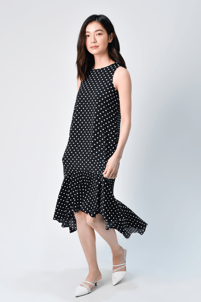 AWE Dresses IRIS BLACK POLKA DIP-HEM DRESS