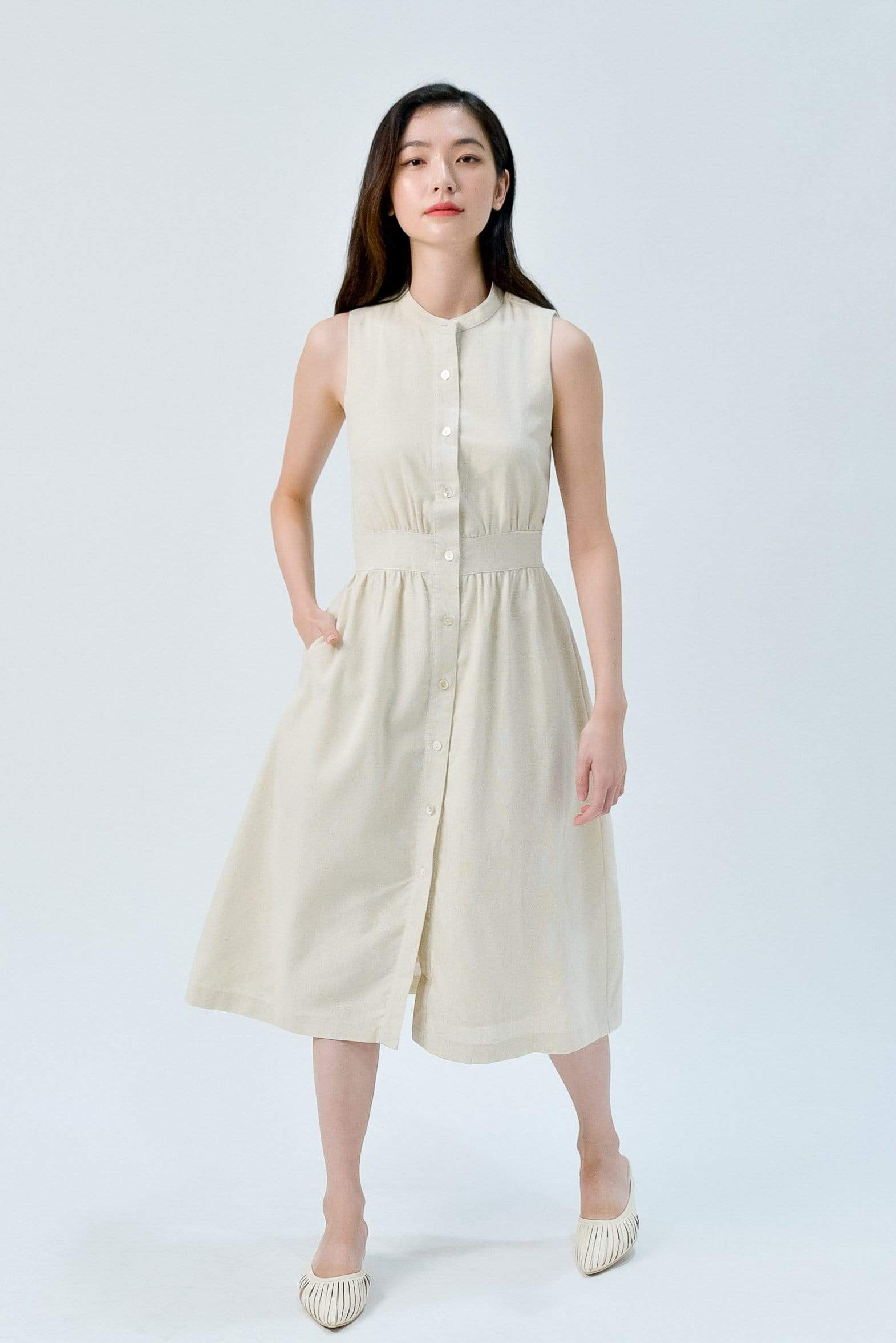JAIME ECRU BUTTONDOWN LINEN DRESS