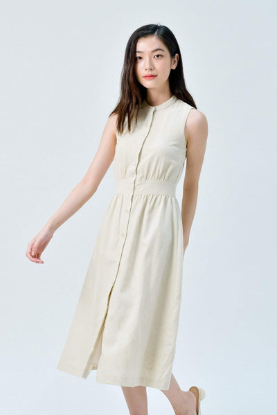 AWE Dresses JAIME ECRU BUTTONDOWN LINEN DRESS