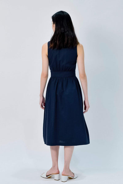 AWE Dresses JAIME NAVY BUTTONDOWN LINEN DRESS