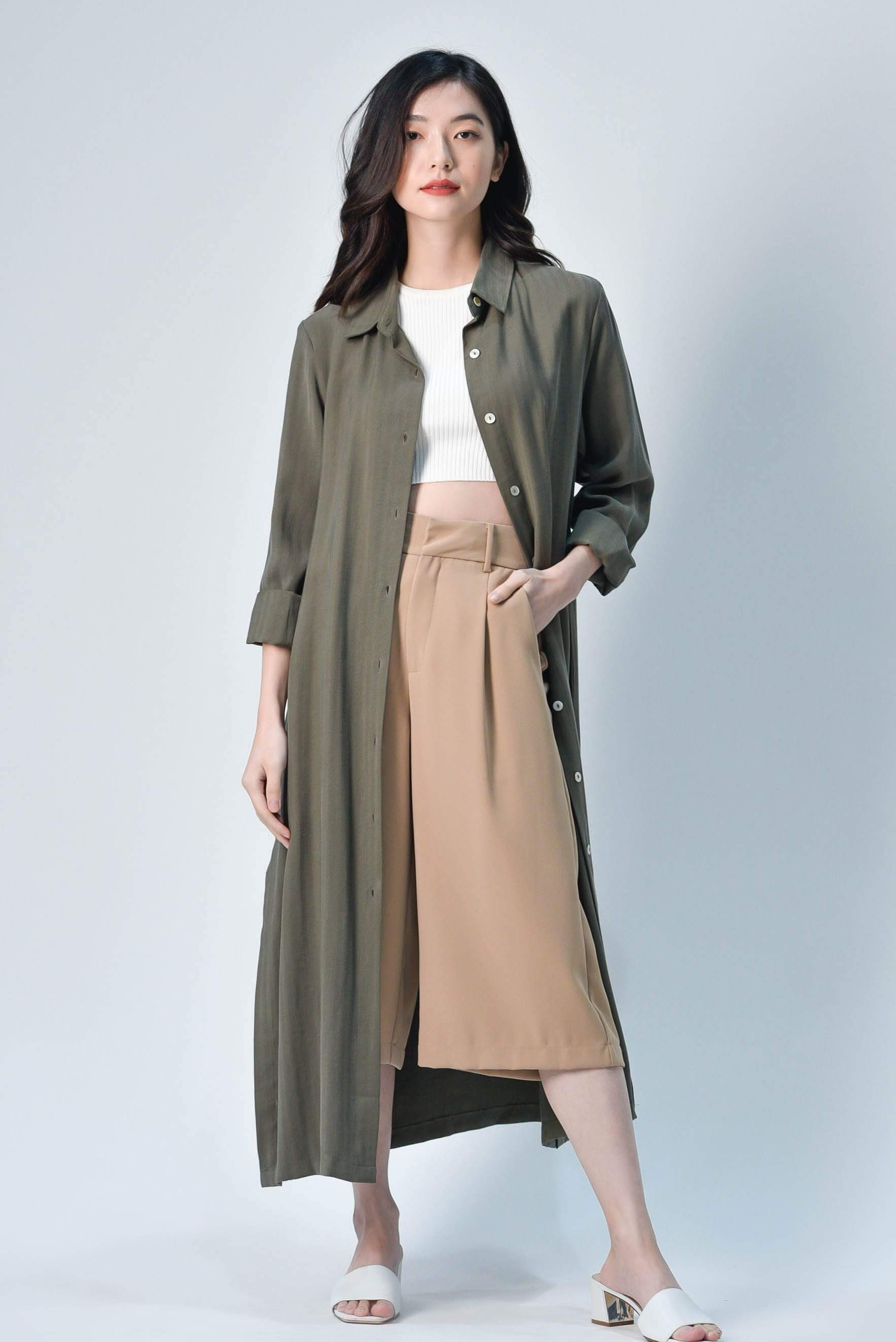 JIHYUN SIDE-SLIT MIDI SHIRTDRESS IN OLIVE