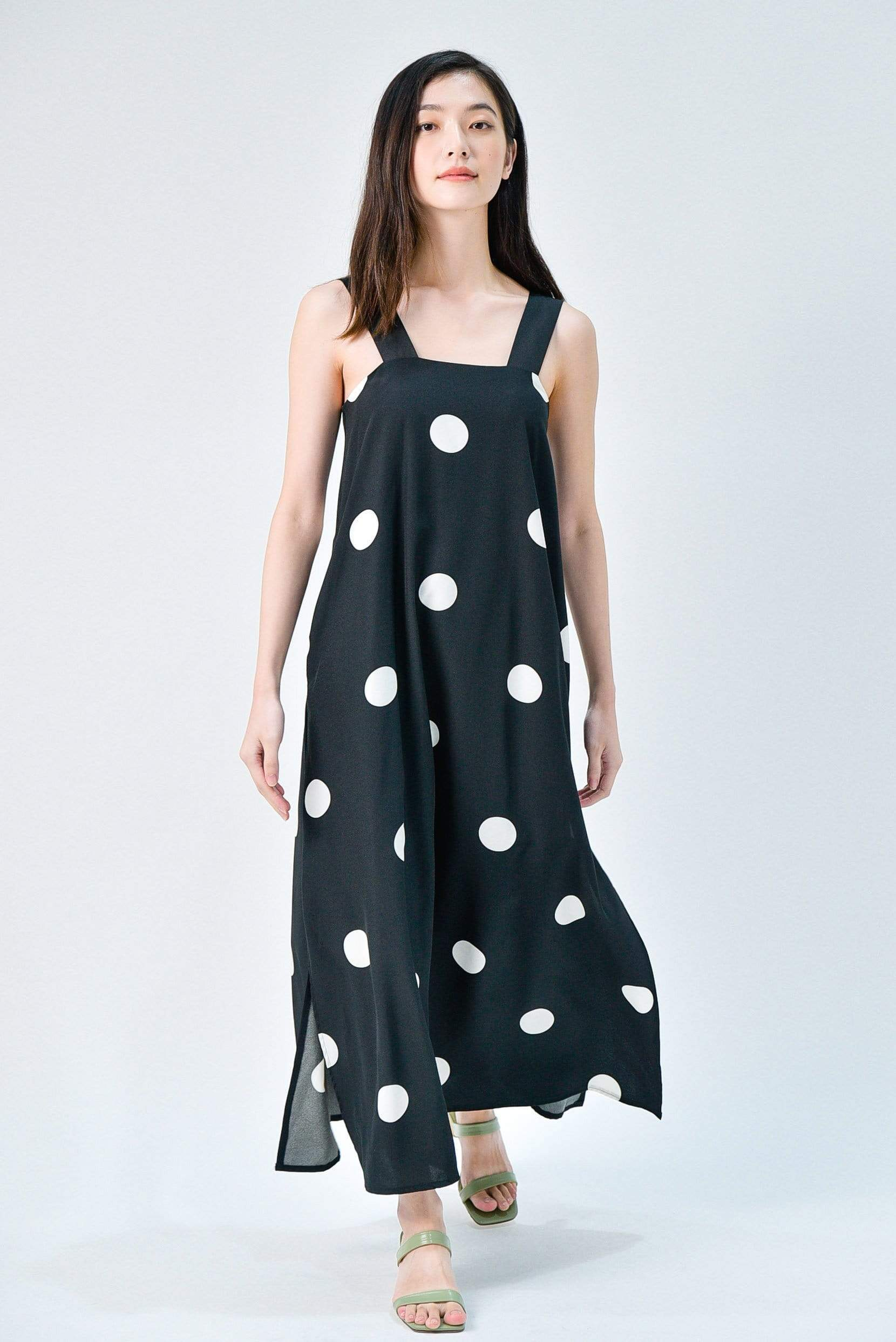 JILLIAN BLACK POLKA THICK STRAP MIDAXI DRESS