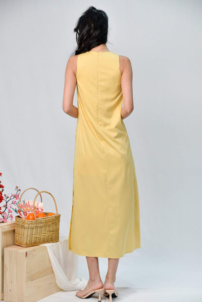 AWE Dresses JODIE CANARY-YELLOW SLIT A-LINE MAXI DRESS
