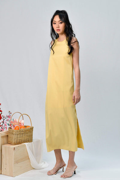 JODIE CANARY-YELLOW SLIT A-LINE MAXI DRESS