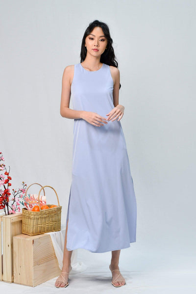 AWE Dresses JODIE LILAC-BLUE SLIT A-LINE MAXI DRESS