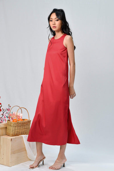 AWE Dresses JODIE RED SLIT A-LINE MAXI DRESS