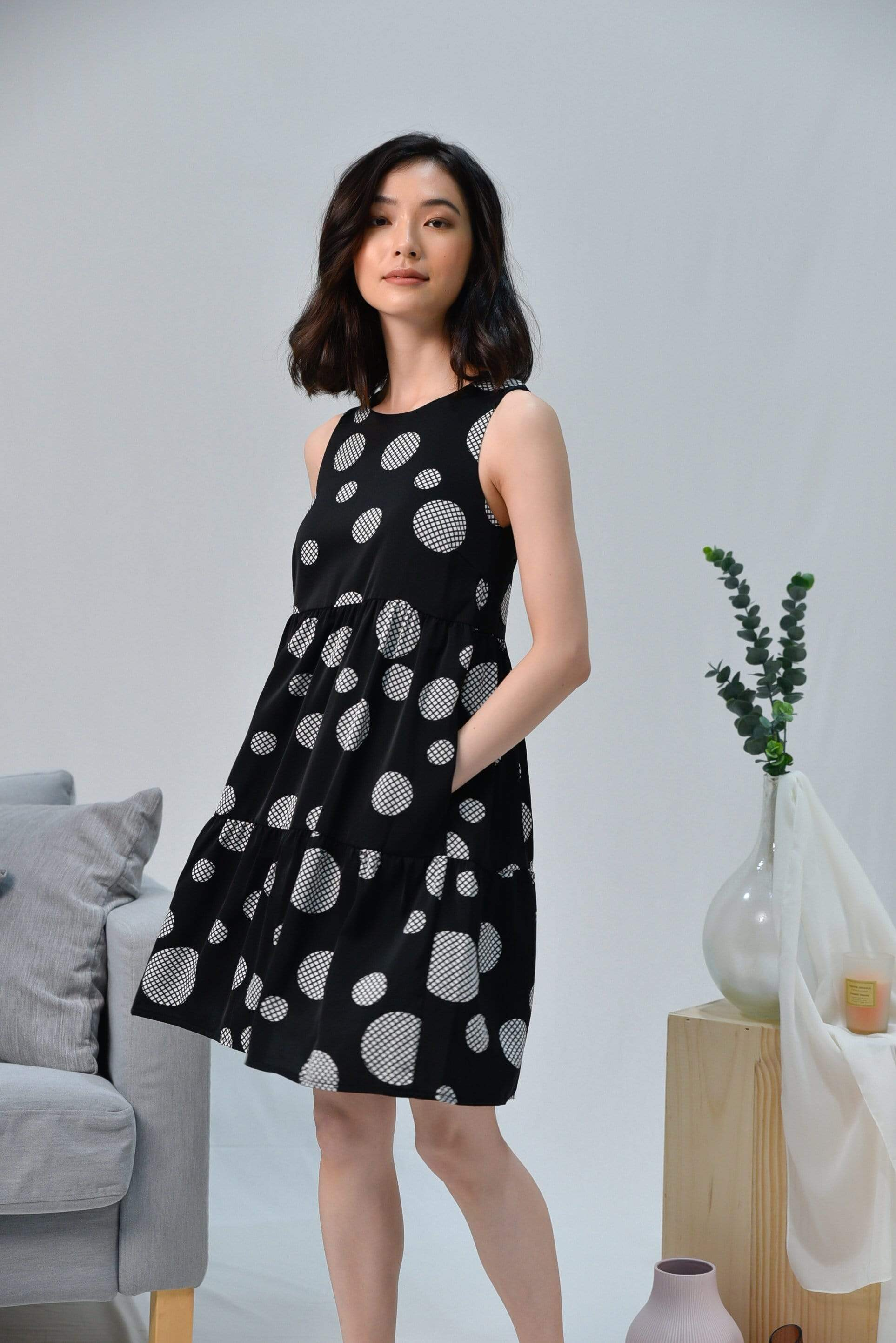 JOIE BLACK ABSTRACT POLKA BABYDOLL DRESS
