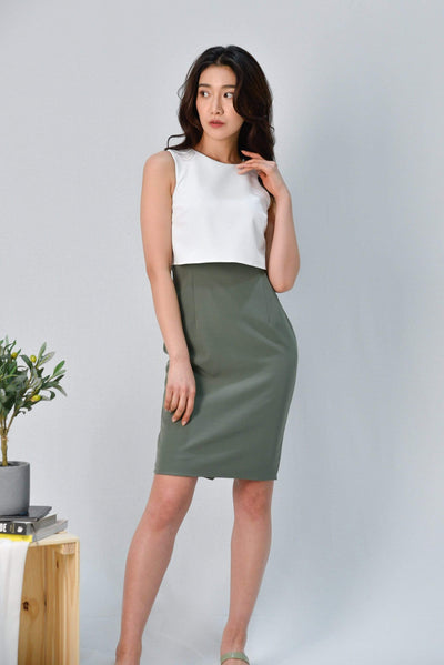 AWE Dresses JULANDA WHITE/SAGE PENCIL DRESS