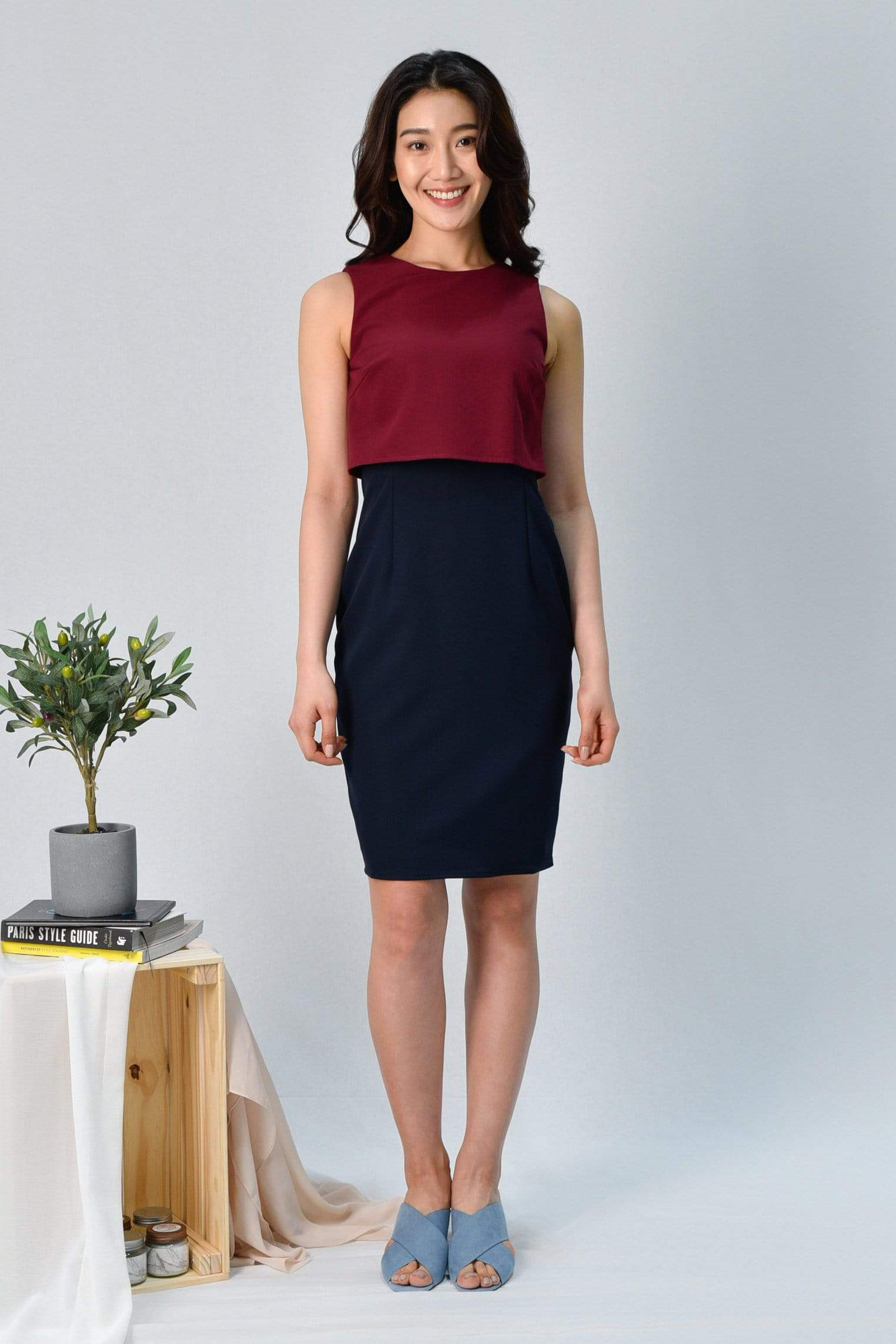 JULANDA WINE/NAVY PENCIL DRESS