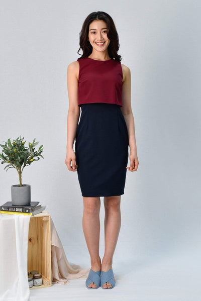 AWE Dresses JULANDA WINE/NAVY PENCIL DRESS
