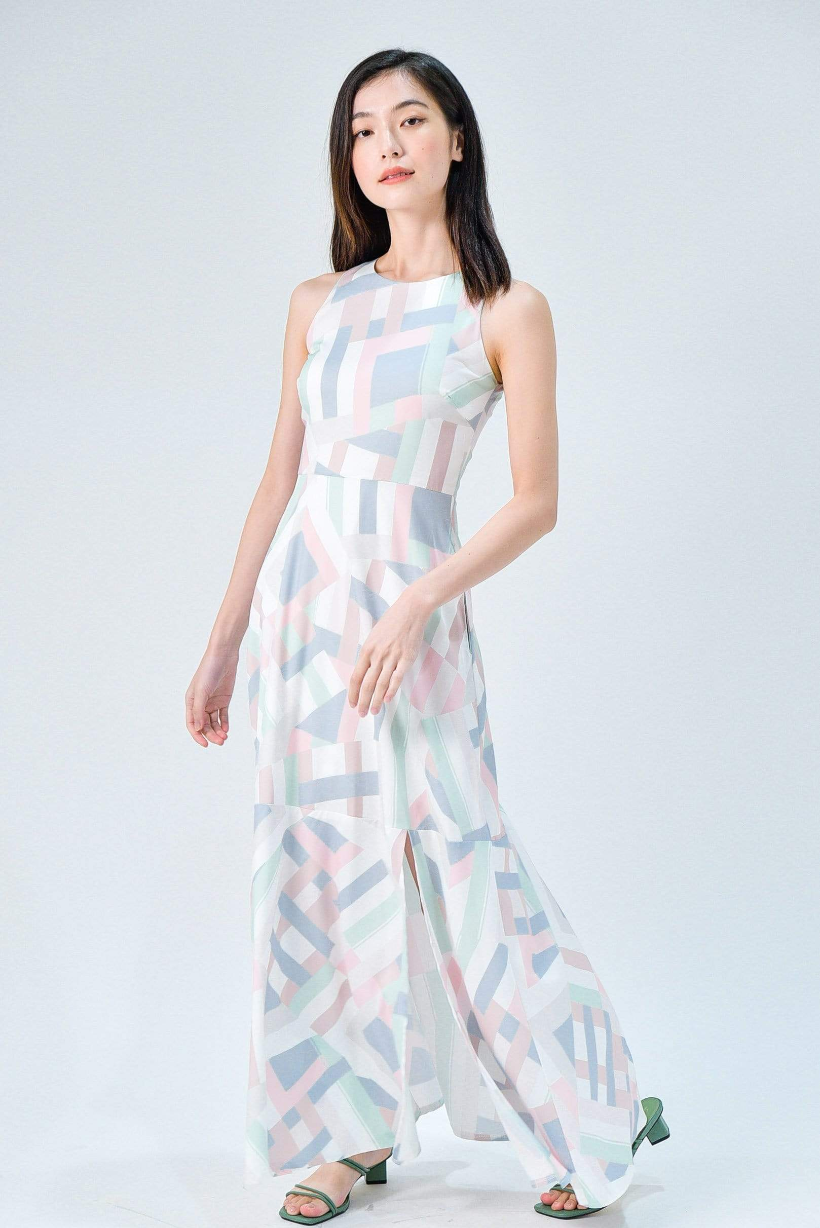 KATY PASTEL COLOURWAY FRONT-SLIT MAXI DRESS
