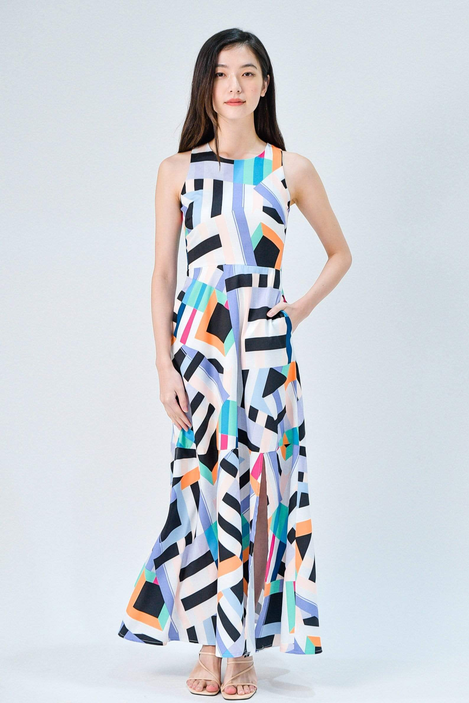 KATY VIBRANT COLOURWAY FRONT-SLIT MAXI DRESS