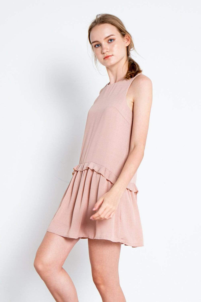 KAYLA PINK FRILL DROPWAIST DRESS
