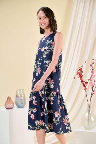 AWE Dresses KORA FLORAL DROPWAIST DRESS IN NAVY