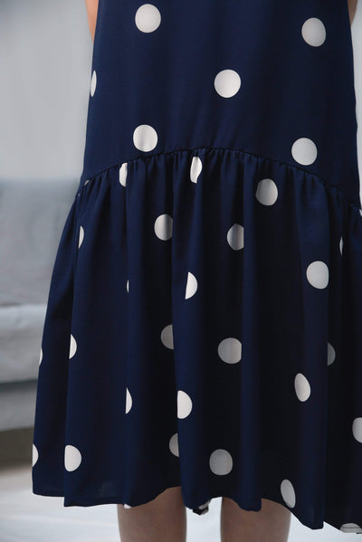 AWE Dresses LANA NAVY POLKA DOT DIP-HEM DRESS