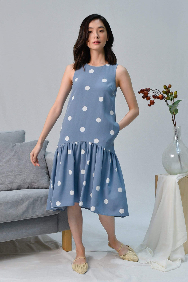 LANA PERIWINKLE POLKA DOT DIP-HEM DRESS