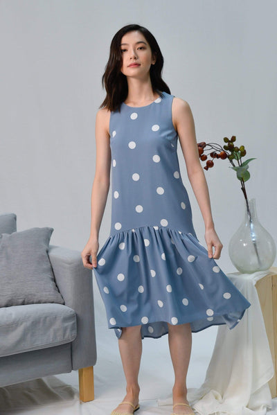 AWE Dresses LANA PERIWINKLE POLKA DOT DIP-HEM DRESS