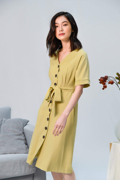 AWE Dresses LEAH FLAX YELLOW BATWING BUTTON DRESS