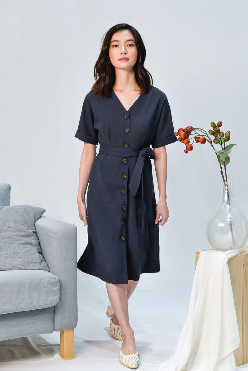 LEAH NAVY BATWING BUTTON DRESS