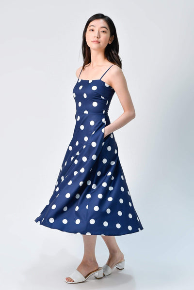 AWE Dresses LEILA NAVY POLKA FIT AND FLARE DRESS