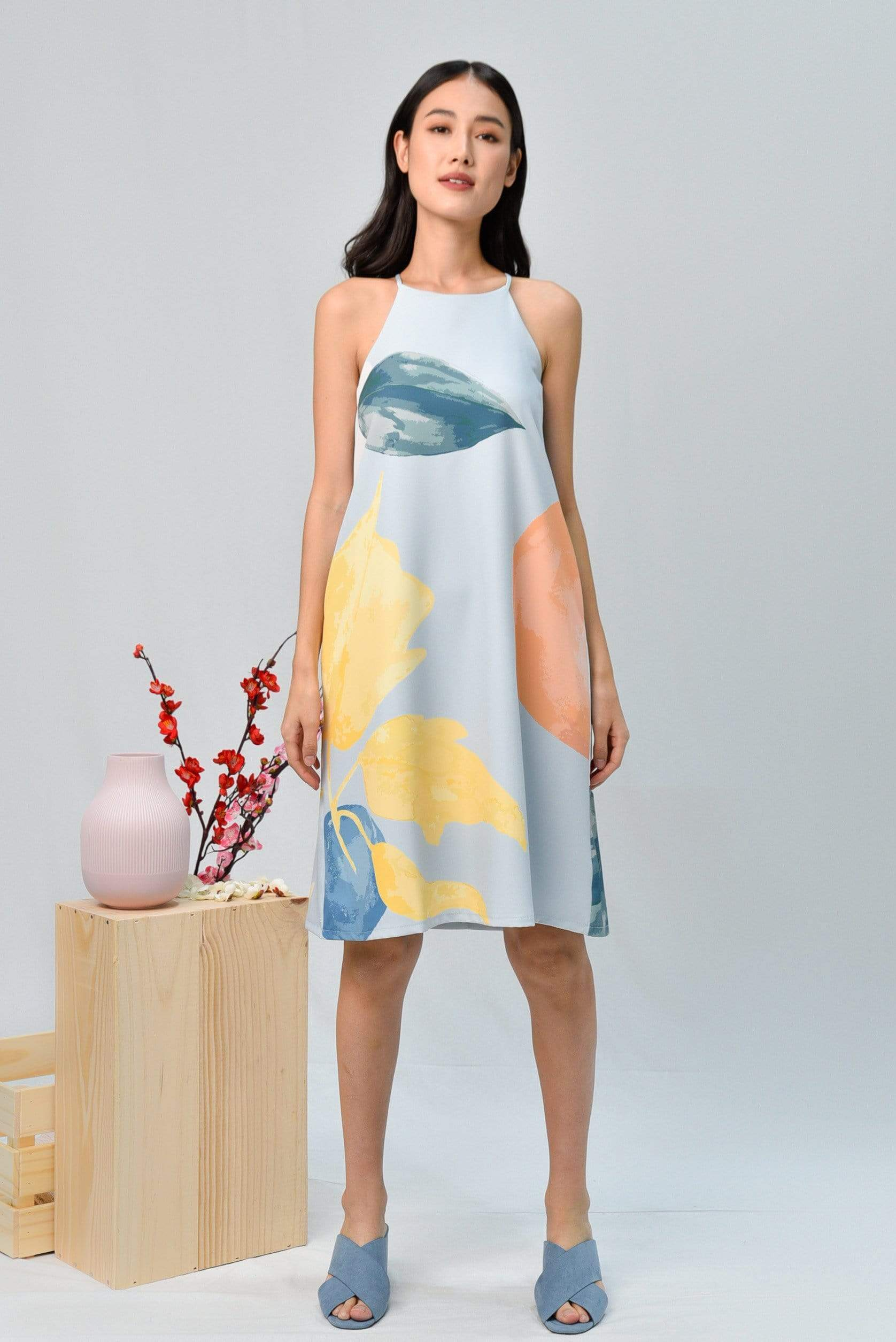 LUNAR HIGH-NECK TRAPEZE DRESS IN IRIS