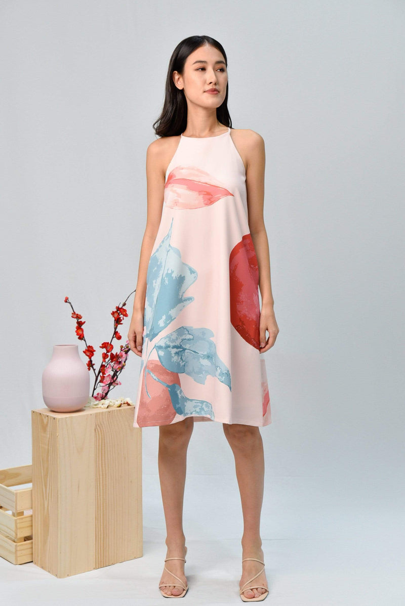 AWE Dresses LUNAR HIGH-NECK TRAPEZE DRESS IN ROSE
