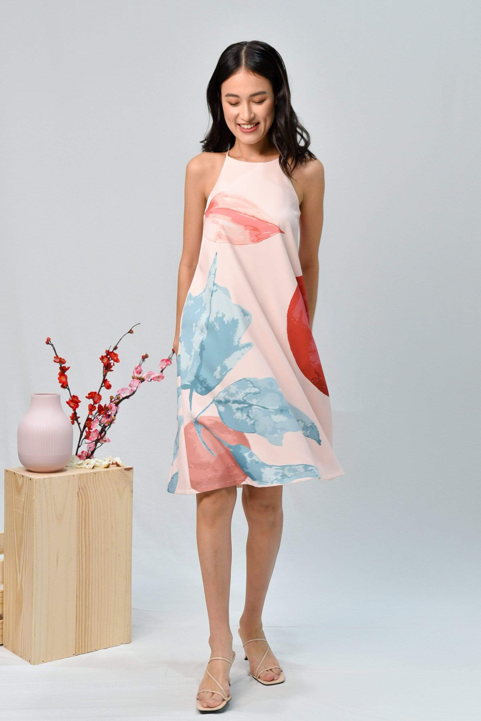 LUNAR HIGH-NECK TRAPEZE DRESS IN ROSE