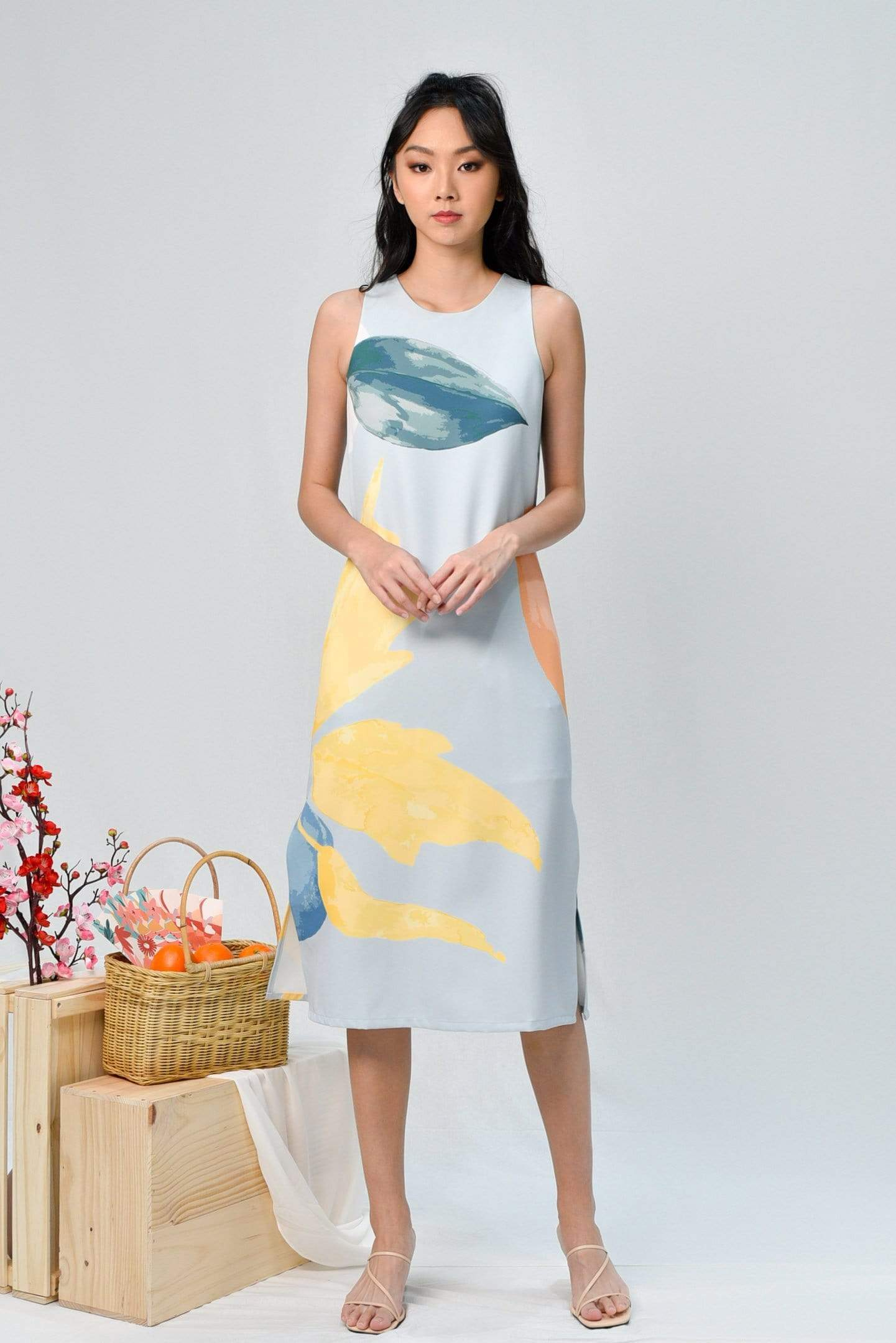 AWE Dresses LUNAR SIDE-SLIT MIDI IN IRIS