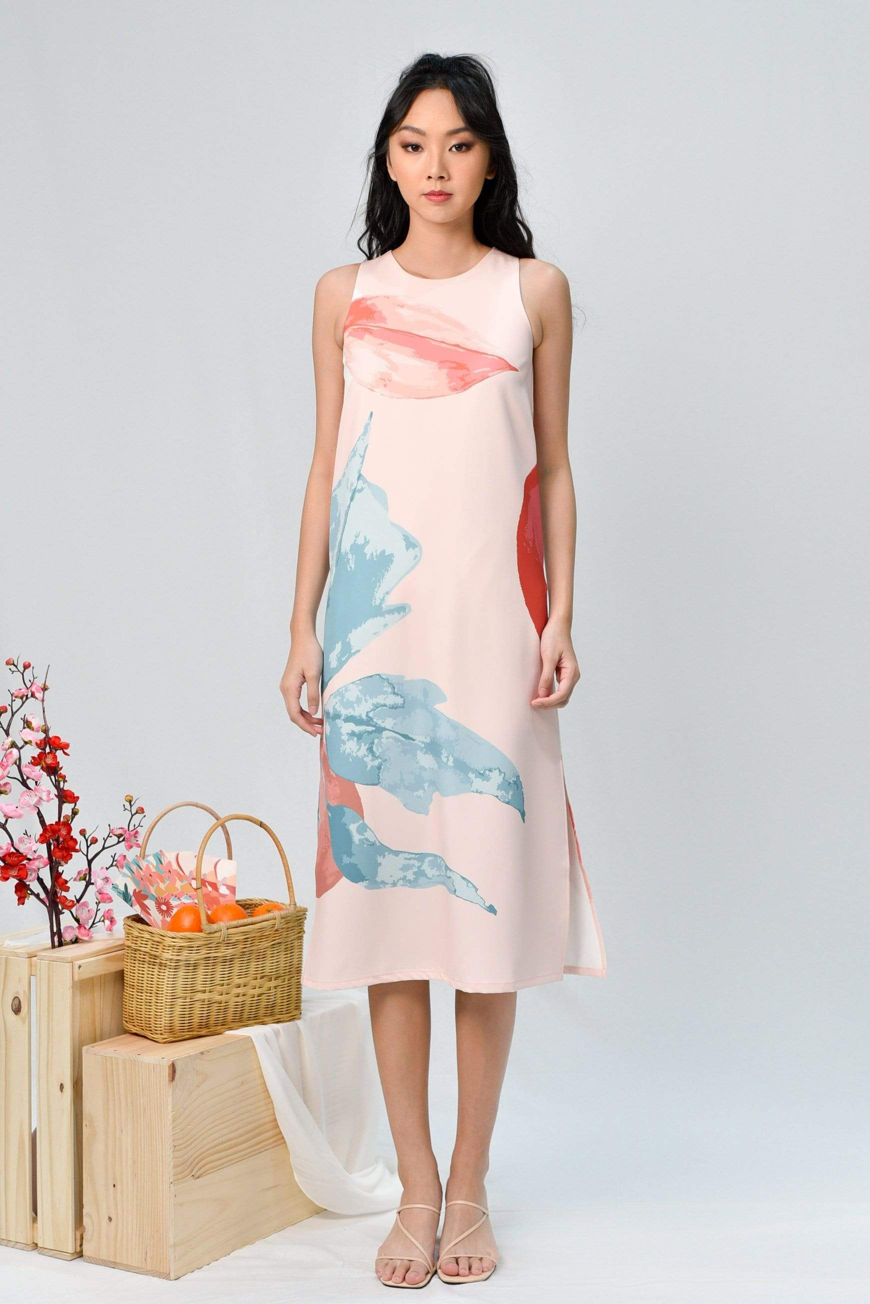 AWE Dresses LUNAR SIDE-SLIT MIDI IN ROSE