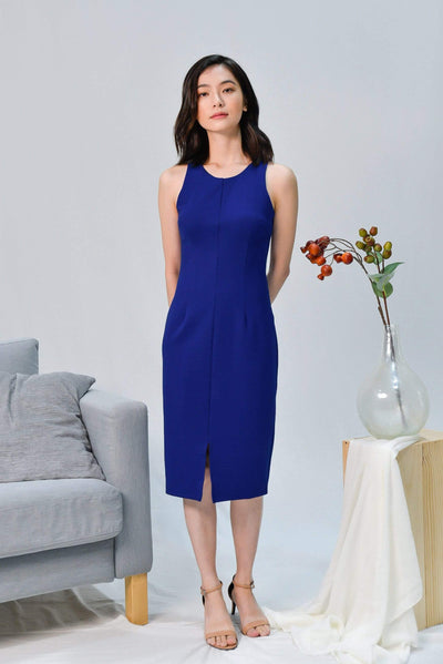 AWE Dresses MADISON COBALT BLUE CENTRE SLIT PENCIL DRESS