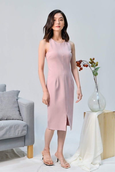 AWE Dresses MADISON DUSTY PINK CENTRE SLIT PENCIL DRESS